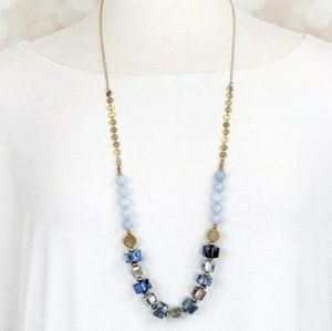 Gold Blue & Iridescent Beaded Long Necklace